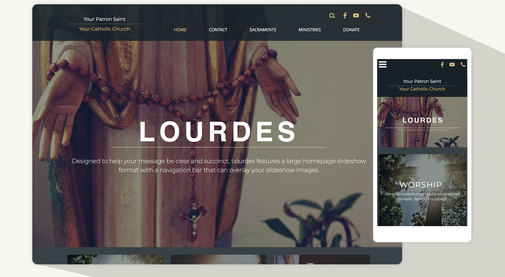 Beautiful new Catholic website design template: Lourdes