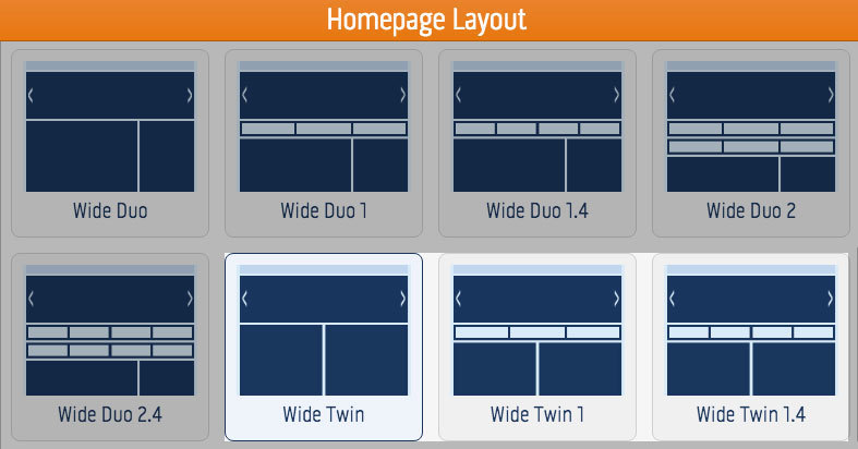 Twin homepage layout