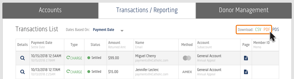 Generate PDF report of transactions