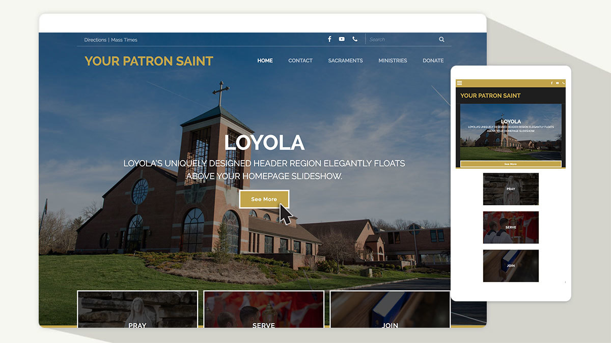 A unique, welcoming (and free!) Catholic homepage design