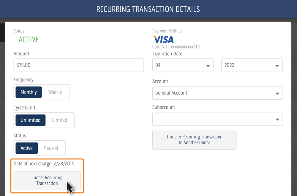 Cancel recurring transaction