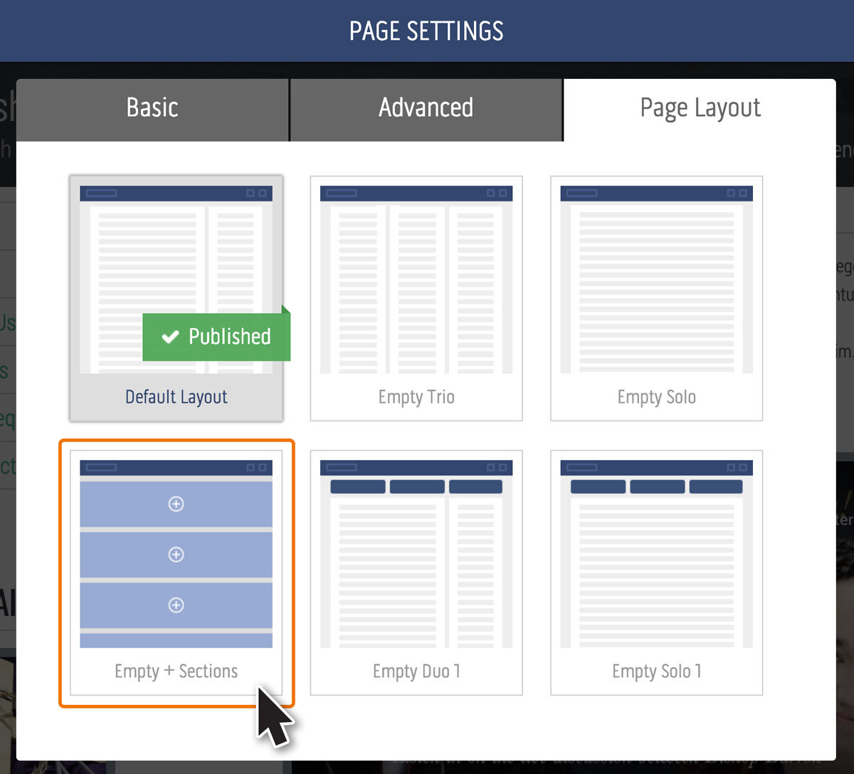 Page Settings Layout - Sections