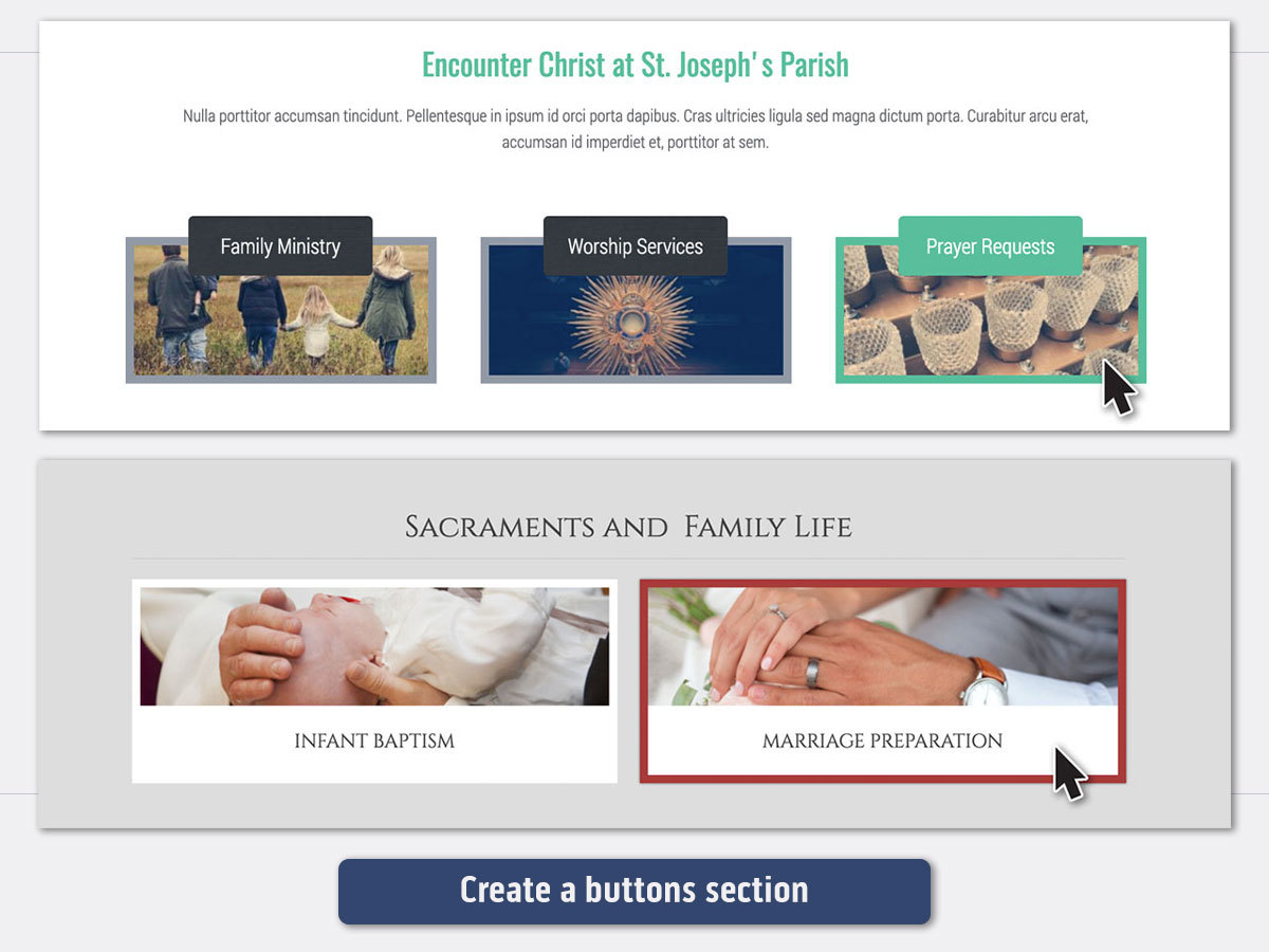 eCatholic Buttons sections