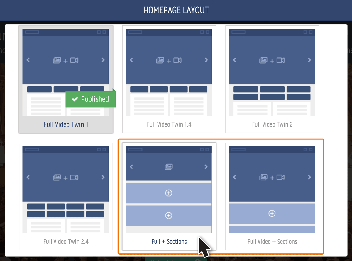 Choosing a Sections Layout for your homepage