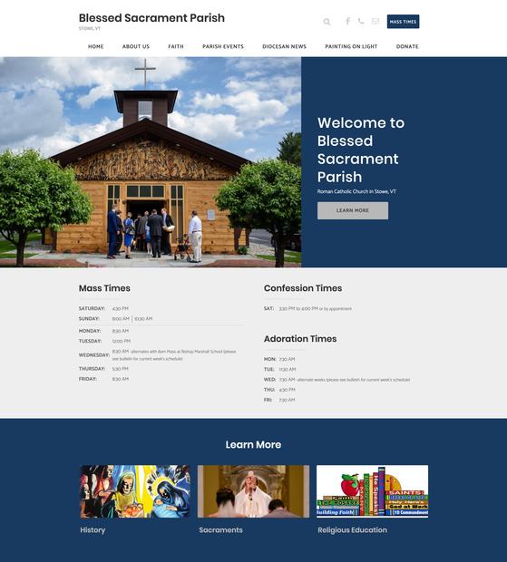 Diocese of Burlington parish website