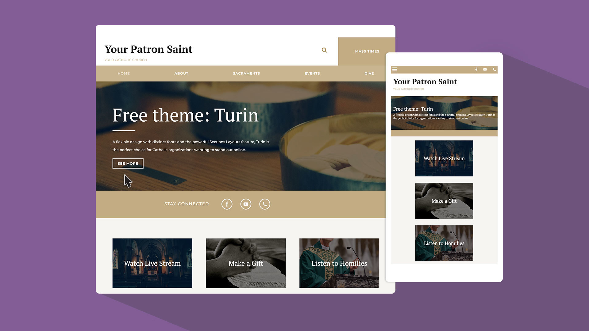 3 reasons to try Turin - eCatholic's newest free website design