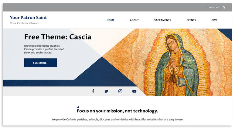 Example of homepage feature region in the Cascia theme