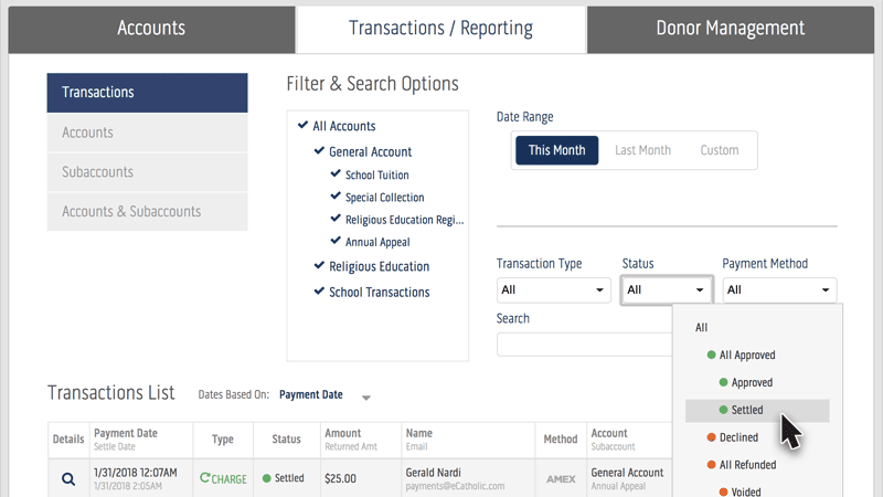 eCatholic Payments Search & Filter