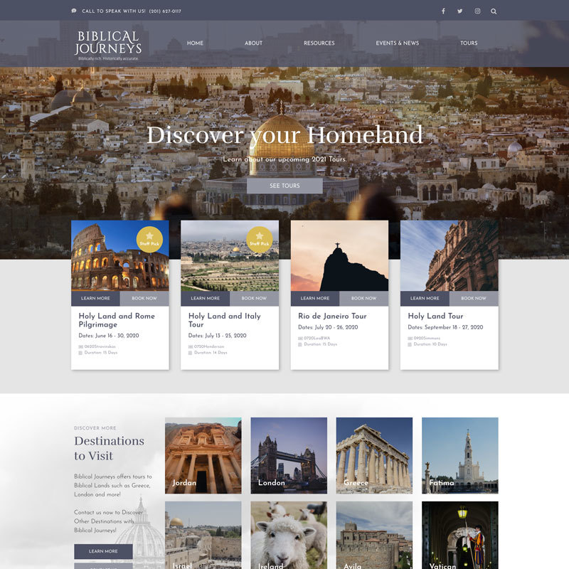 Biblical Journeys custom design website example