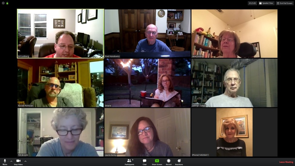 The Tuesday Evening Scripture Study Zoom meeting.