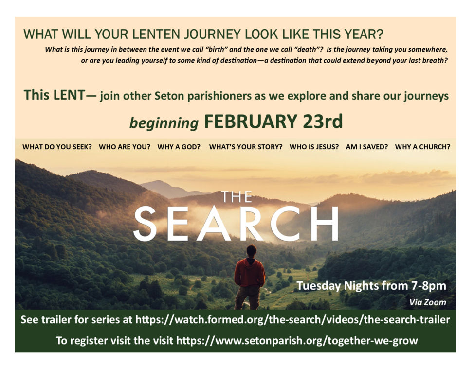 The Search - Tuesday Nights via Zoom beginning February 23rd.
