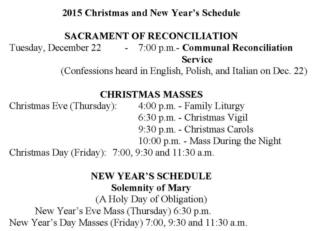 2015 Christmas/New Year's Schedule