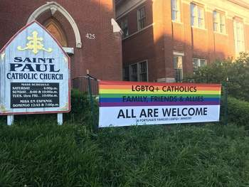 Our Banner of Welcome is Up for Pride Month