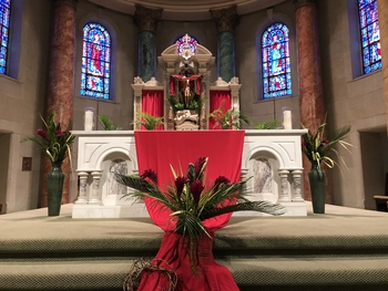 Palm Sunday Mass was live streamed at 9:00am