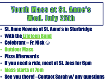 Novena to St. Anne Continues with an Outdoor Youth Mass