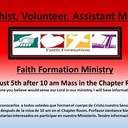 Faith Formation Catechist, Volunteer, Assistant Meeting