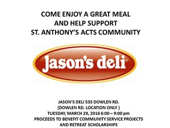 ACTS Fundraiser at Jason's Deli on Dowlen