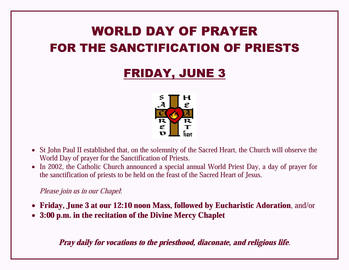 World Day of Prayer for the Sanctification of Priests