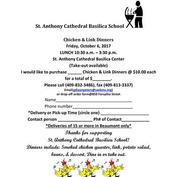 St. Anthony Cathedral Basilica School Annual Chicken & Link Dinners
