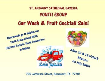 Youth Group Car Wash & Fruit Cocktail Sale!!
