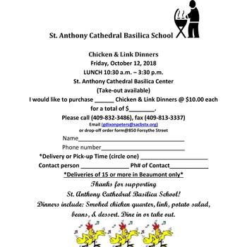 St. Anthony Cathedral Basilica School Chicken & Link Dinner Fundraiser