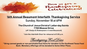 16th Annual Beaumont Interfaith Thanksgiving Service