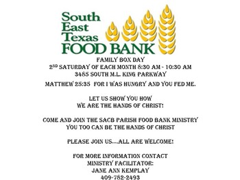 Food Bank Ministry-2nd Saturday of Each Month