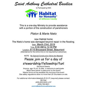 Join Us to Assist a Parish Family With Their Habitat House Construction