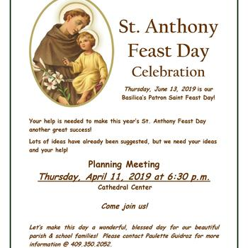 Planning Meeting (for the)St. Anthony Feast Day Celebration
