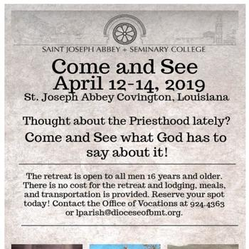 Thought About the Priesthood Lately? Come & See Weekend!