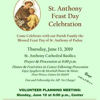 St. Anthony Feast Day Planning Meeting