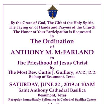 The Ordination of Anthony M. McFarland
