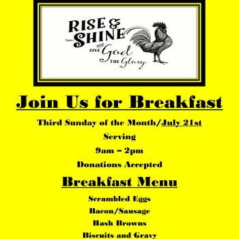 Rise & Shine & Give God the Glory! Join Us for Breakfast!
