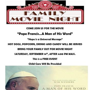 "Movie Night! ""Pope Francis-A Man of His Word"""