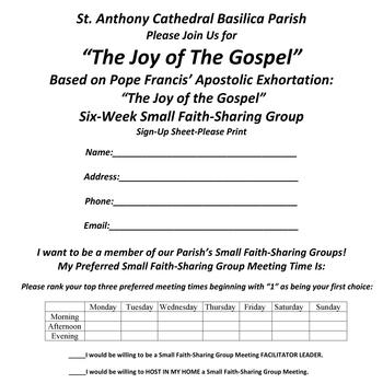 """The Joy of the Gospel"" Small Faith Sharing Group Leader Training"