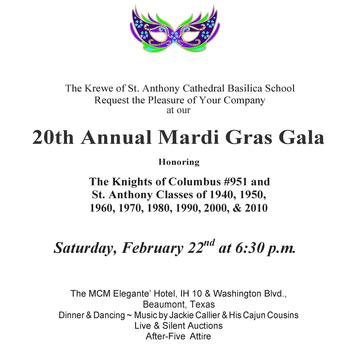 St. Anthony Cathedral Basilica School Annual Mardi-Gras!