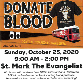 OneBlood Bus for donations October 25 from 9:00-2:00 PM