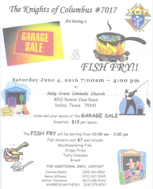Knights of Columbus #7017 Garage Sale and Fish Fry   Holy Cross ...