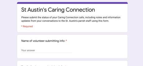 Caring Connection Feedback Form