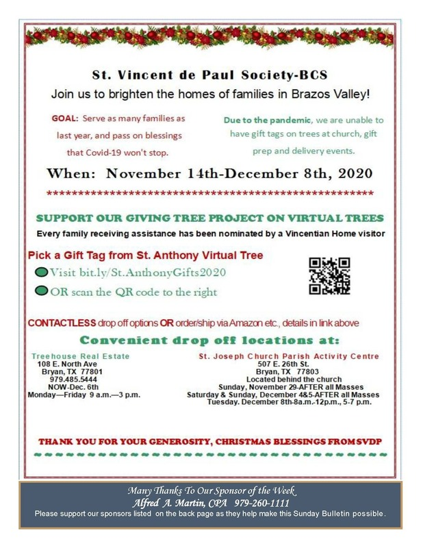 St. Anthony Virtual Giving Tree