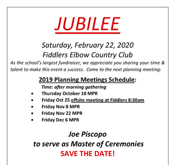 Jubilee Planning Meeting-Location/Time change