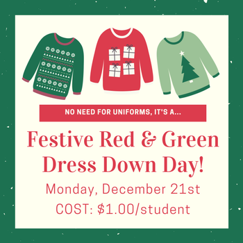 Festive Red & Green Dress Down Day