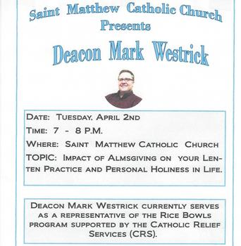 Second Lenten Speaker - April 2