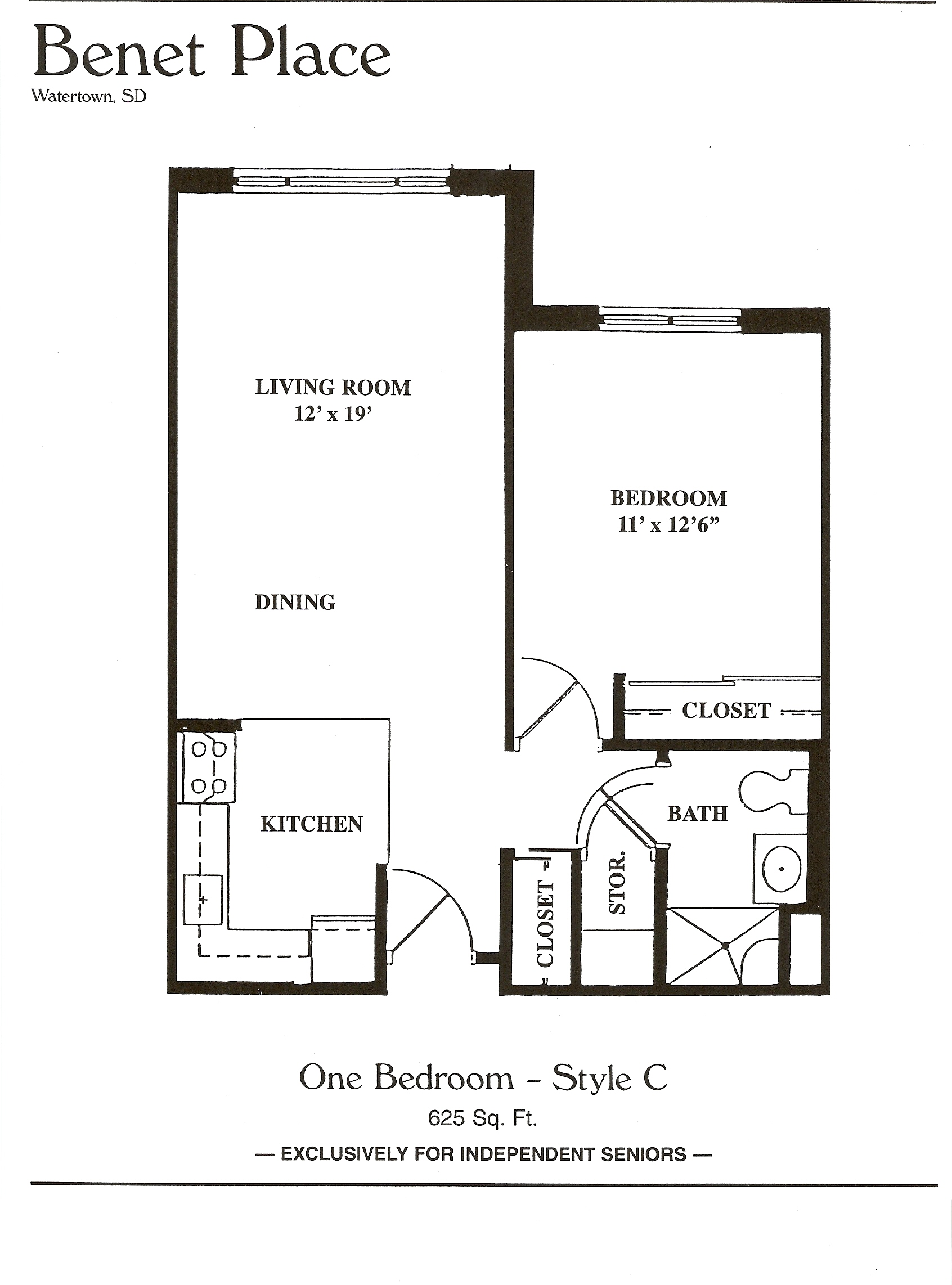 Large 1 bedroom apartment. Floor Plans   Benet Place Senior Apartments Independent Living