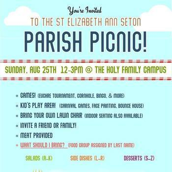 Parish Picnic: August 25