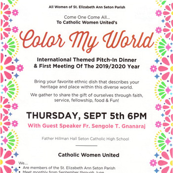 """Color My World""- Catholic Women United: September 5th"