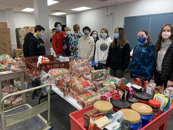St. Joseph's School Families Donated Breakfast Items to the Food Pantry