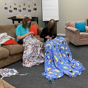 Youth completed blankets for Project Linus