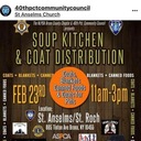 Soup Kitchen and Coat Distribution. Feb, 23rd 11am- 3pm