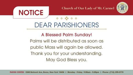 NOTICE - PALM SUNDAY